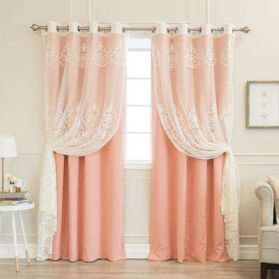 52 in. W x 84 in. L uMIXm Sheer Agatha & Blackout Curtains in Coral (4-Pack)
