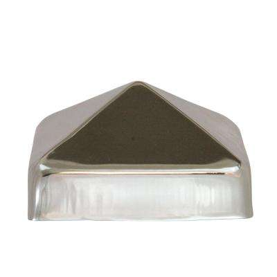 4 in. x 4 in. Stainless Steel Pyramid Slip Over Fence Post Cap (for Rough Cut Post)