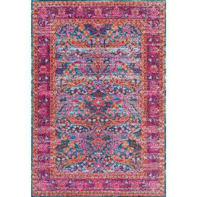 Persian Floral Yoshie Pink 9 ft. x 12 ft. Area Rug
