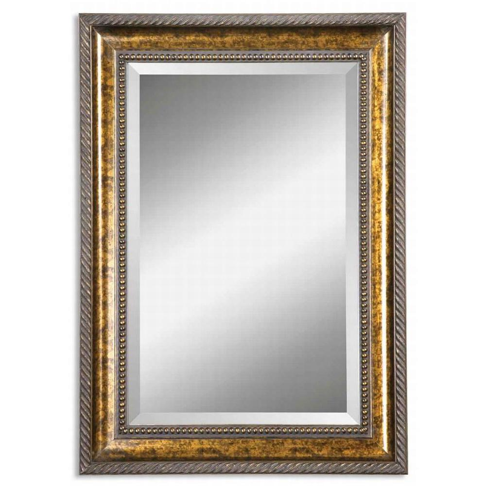 Global Direct 25 in. x 35 in. Gold Leaf Wood Vanity Framed Mirror
