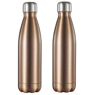 Marina 16 oz. Brushed Copper Double Wall Water Bottle (2-Pack)