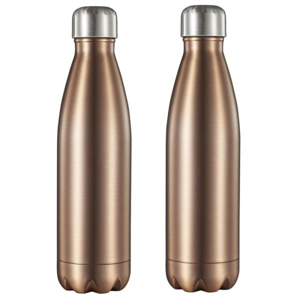 Visol Marina 16 oz. Brushed Copper Double Wall Water Bottle (2-Pack)