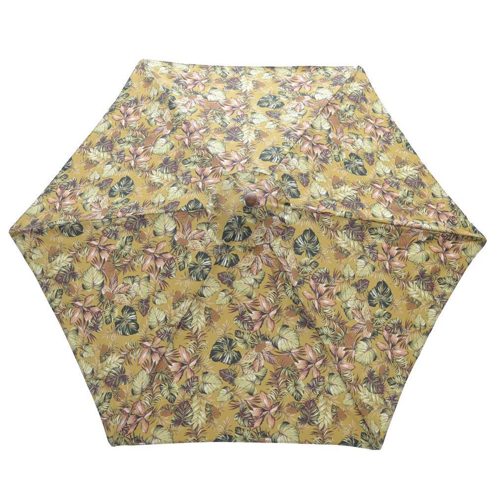 9 ft. Wood Patio Umbrella in Promo Floral