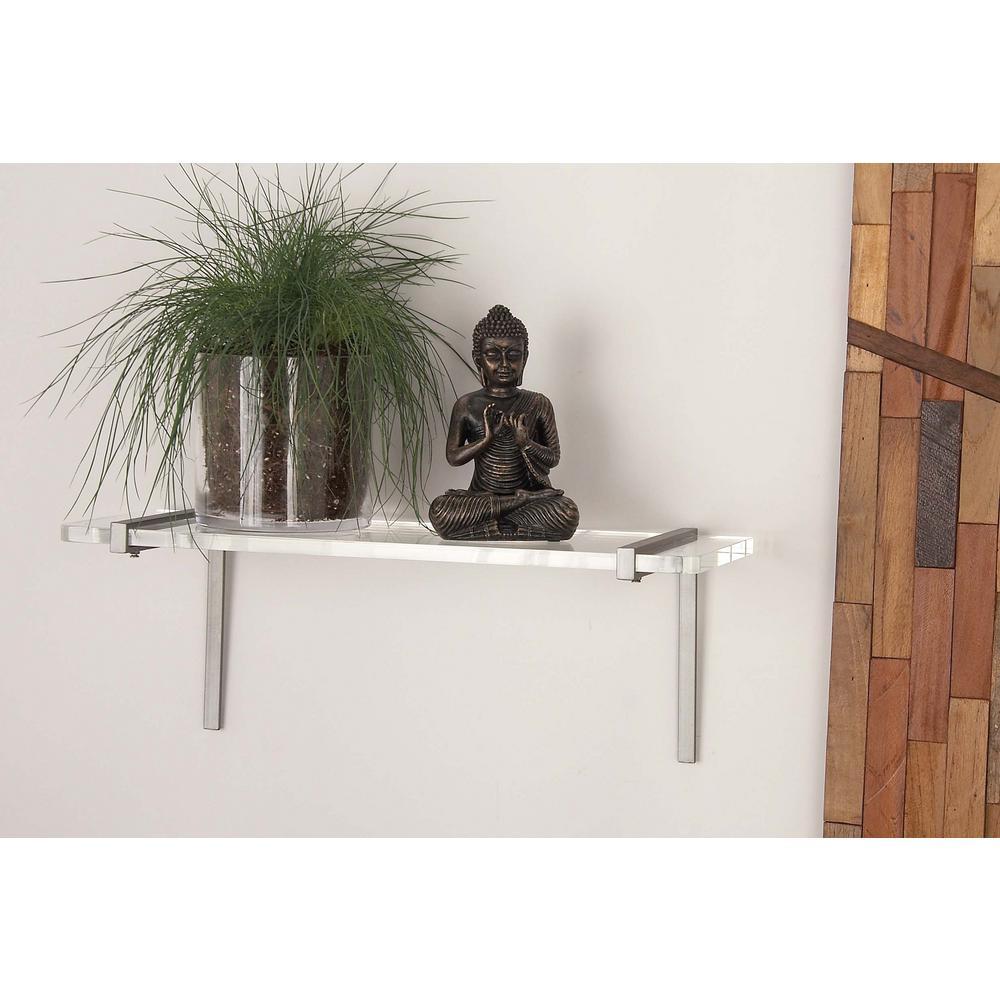 8 in. L x 22 in. W Modern Polished Silver Nickel Iron and Acrylic Shelf
