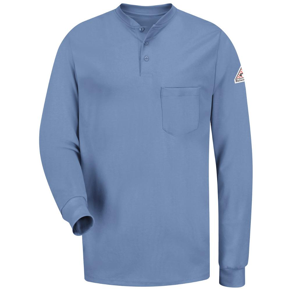 4f48d0fe Bulwark EXCEL FR Men's Large Light Blue Long Sleeve Tagless Henley Shirt