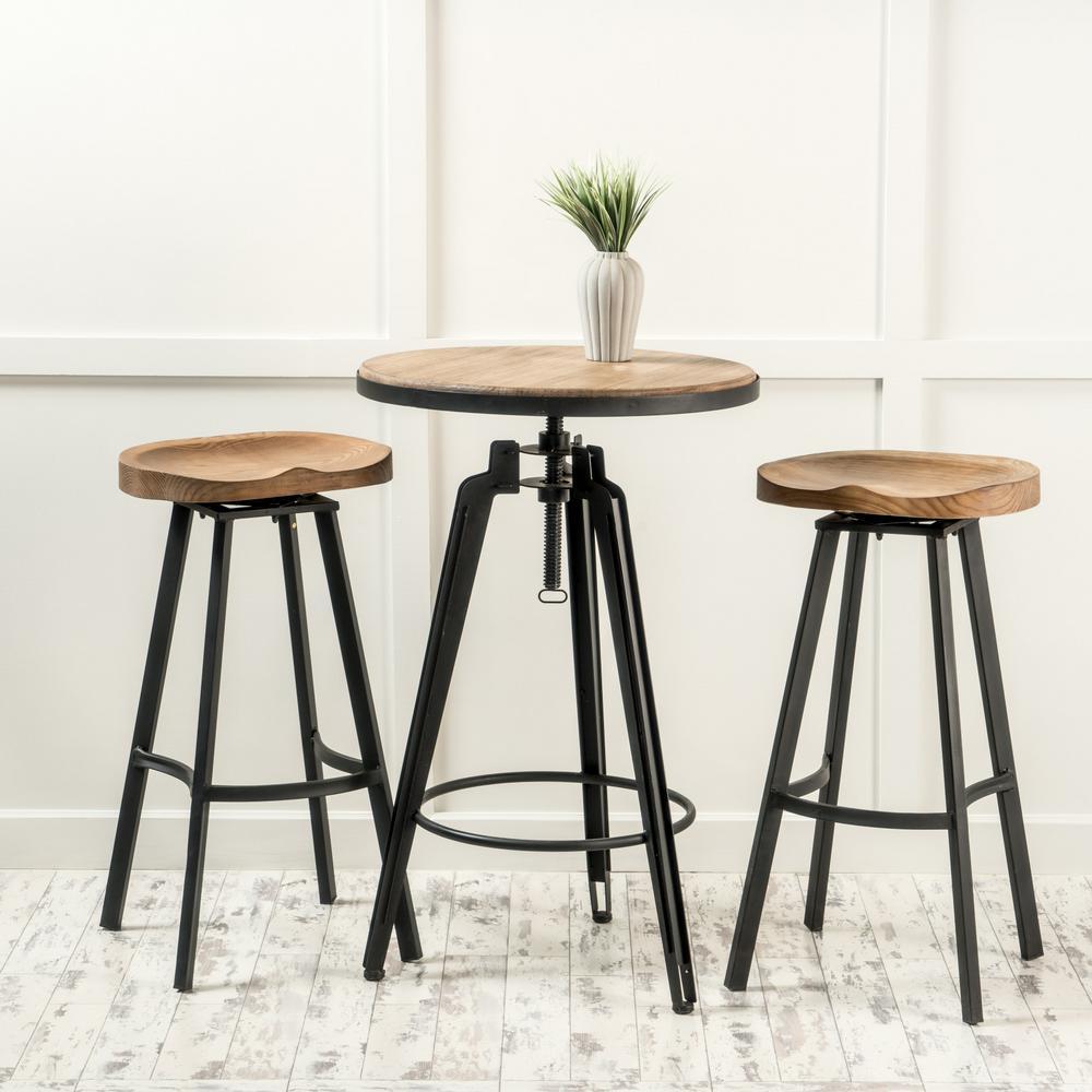 Zhana 3-Piece Antique Wood Finish Bar Set
