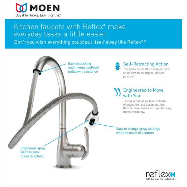 Moen Arbor Single Handle Pull Down Sprayer Bar Faucet With Reflex And Power Clean In Spot Resist Stainless 5995srs The Home Depot
