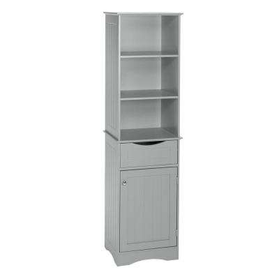 Ashland 16-1/2 in. W x 60 in. H Bathroom Linen Storage Tower Cabinet in Gray
