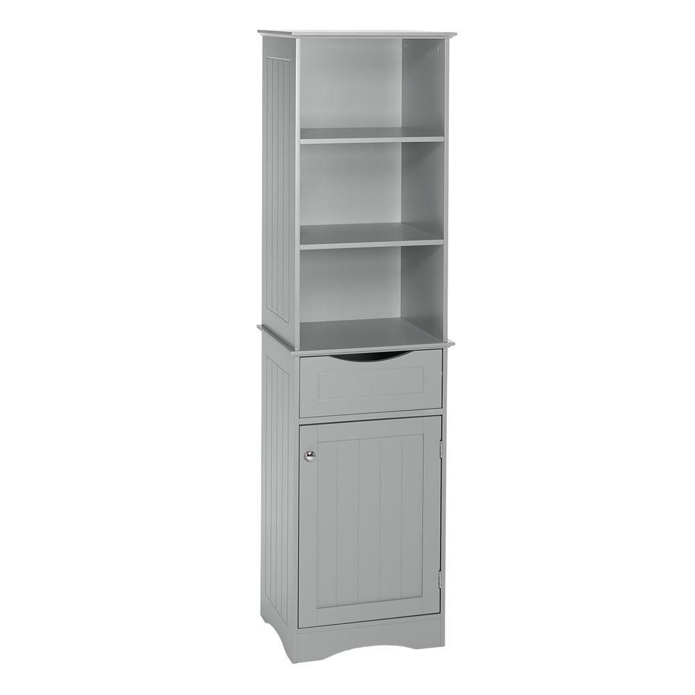 Riverridge Home Ashland 16 1 2 In W X 60 In H Bathroom Linen Storage Tower Cabinet In Gray 06
