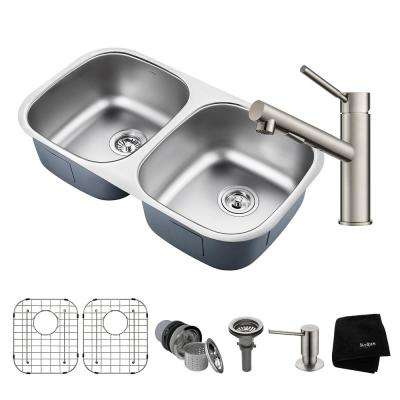 Outlast All-in-One Undermount Stainless Steel 32 in. 50/50 Double Bowl Kitchen Sink with Faucet in Stainless Steel