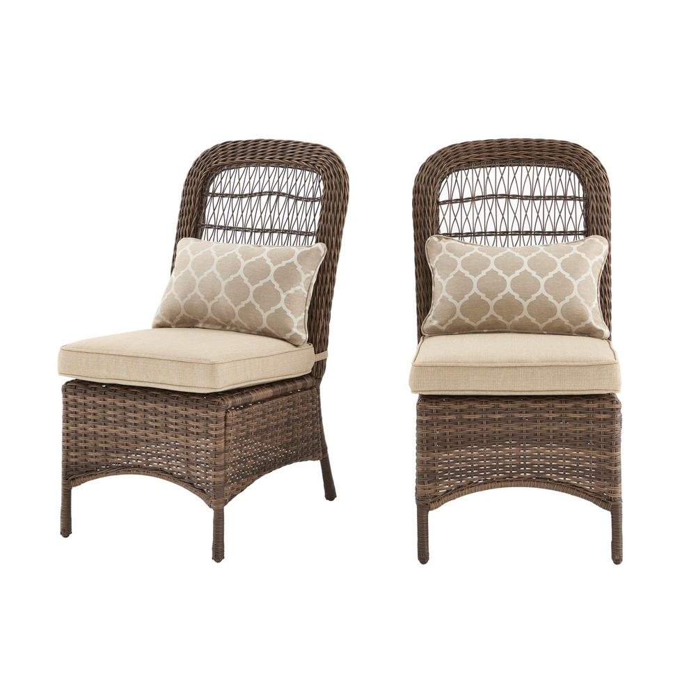 Hampton Bay Beacon Park Brown Wicker Outdoor Patio Armless Dining Chair With Standard Toffee Trellis Tan Cushions 2 Pack