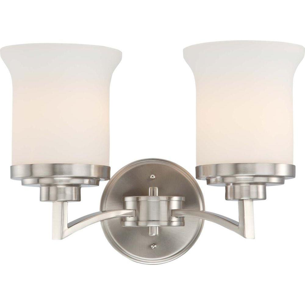 2-Light Brushed Nickel Vanity Light with Satin White Glass