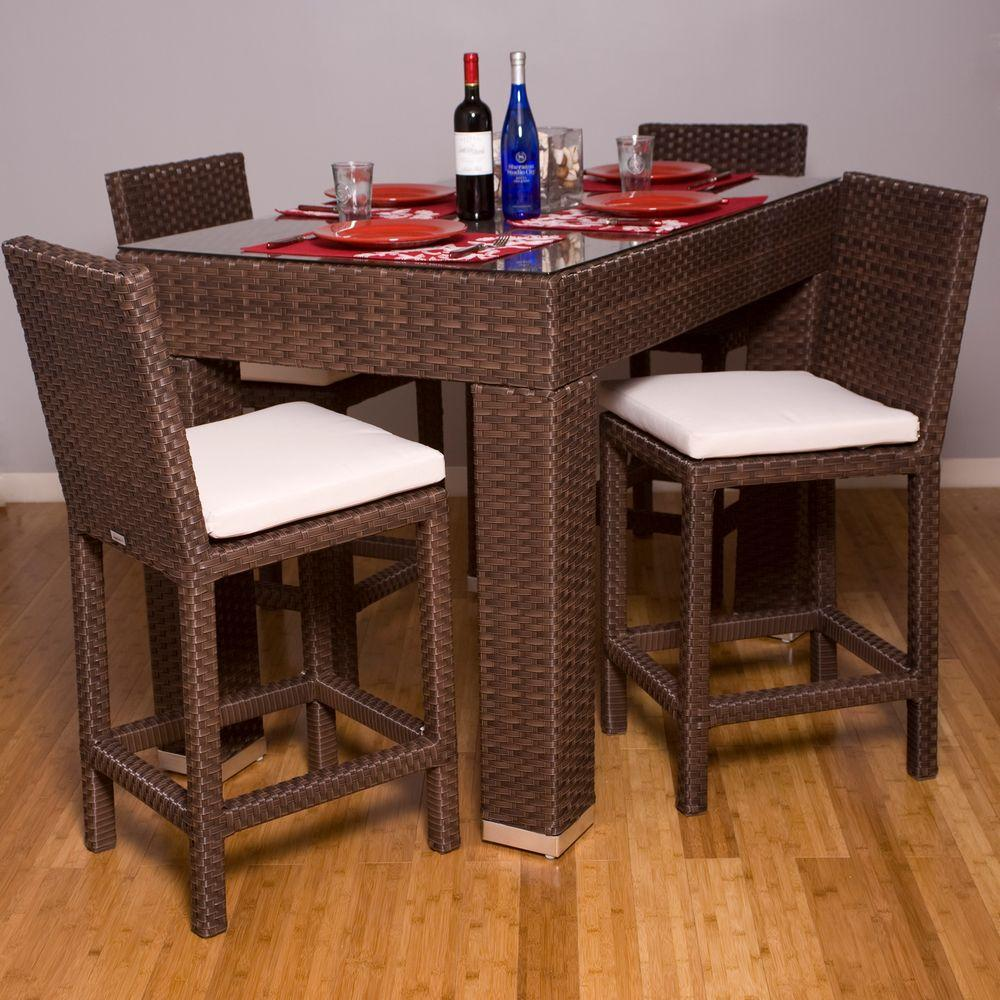Atlantic Contemporary Lifestyle Monza Rectangle 5-Piece Patio High Dining Set-DISCONTINUED