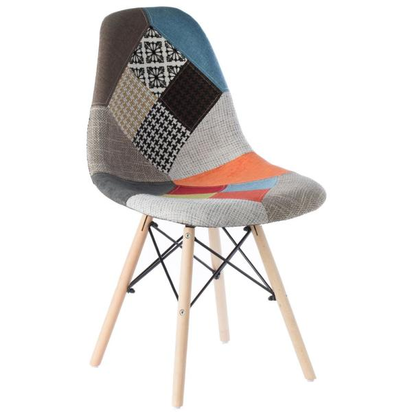 Bold Tones Mid Century Modern Upholstered Plastic Multicolor Fabric Patchwork Dsw Shell Dining Chair With Wooden Dowel Eiffel Legs Qi003747 The Home Depot