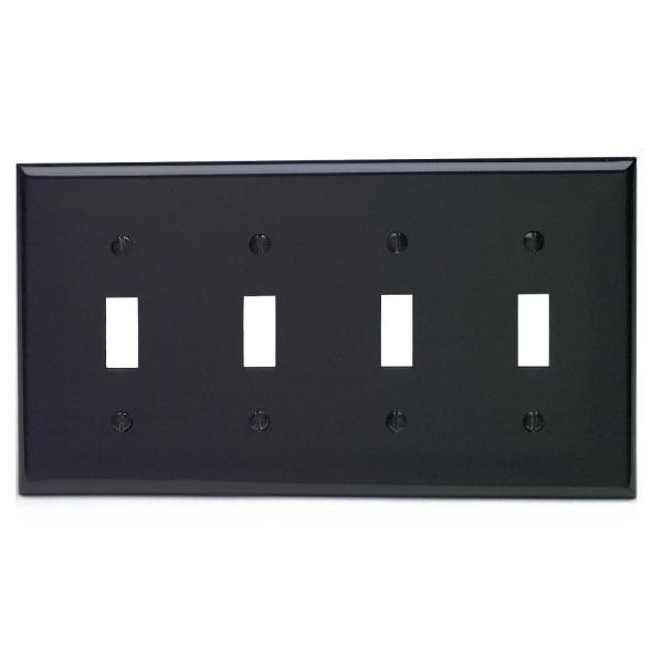 Black 4-Gang Toggle Wall Plate (1-Pack)