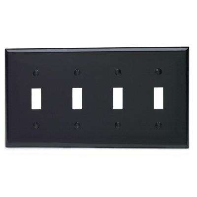 4-Gang 4-Toggles Standard Size Heavy Duty Nylon Wall Plate, Black