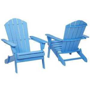 Periwinkle Folding Outdoor Adirondack Chair (2-Pack) by