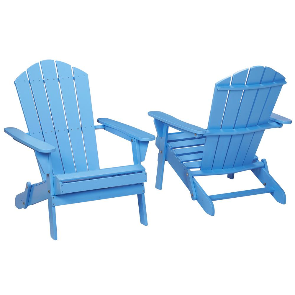 Bon Hampton Bay Periwinkle Folding Outdoor Adirondack Chair (2 Pack)