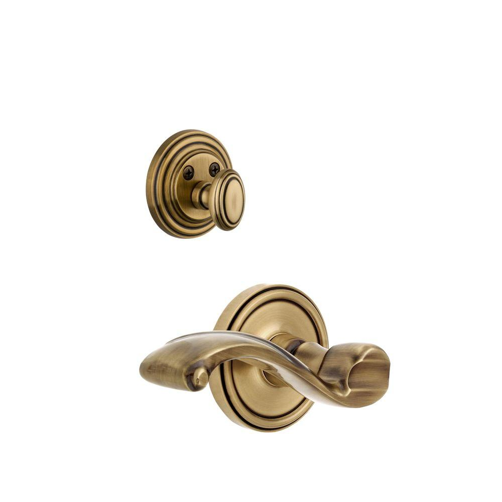 Grandeur Georgetown Single Cylinder Vintage Brass Combo Pack Keyed Alike with Right Handed Portofino Lever and Matching Deadbolt