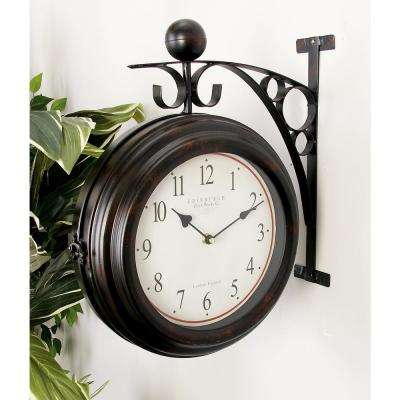 16 in. x 14 in. 2-Sided Brown and Tan Old World Edinburgh Wall Clock