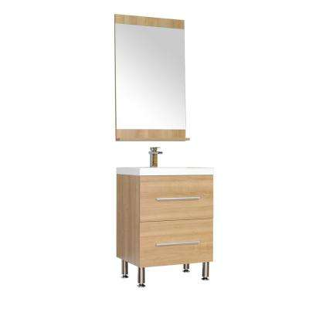 The Modern 23.5 in. W x 18.87 in. D Bath Vanity in Light Oak w/ Acrylic Vanity Top in White w/ White Basin and Mirror