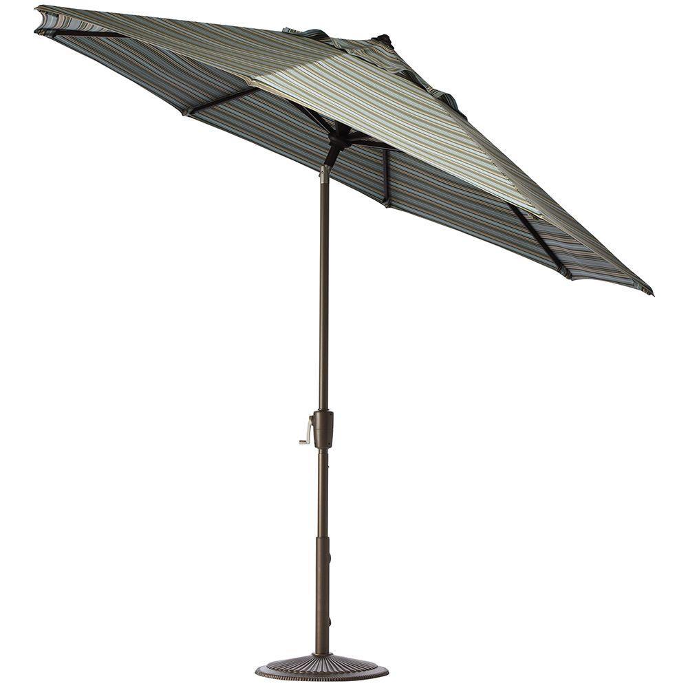 7.5 ft. Aluminum Auto Tilt Patio Umbrella in Sunbrella Cilantro Stripe with Bronze Frame