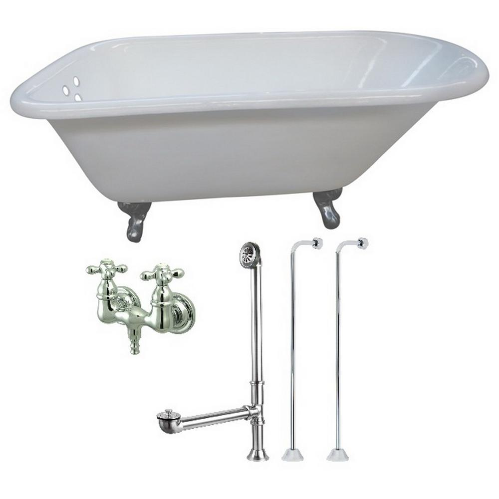 Aqua eden petite 4 5 ft cast iron clawfoot bathtub in for 4 foot bath tub