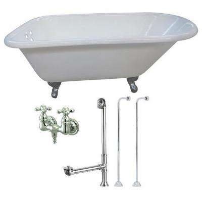 Petite 4.5 ft. Cast Iron Clawfoot Bathtub in White and Faucet Combo in Chrome