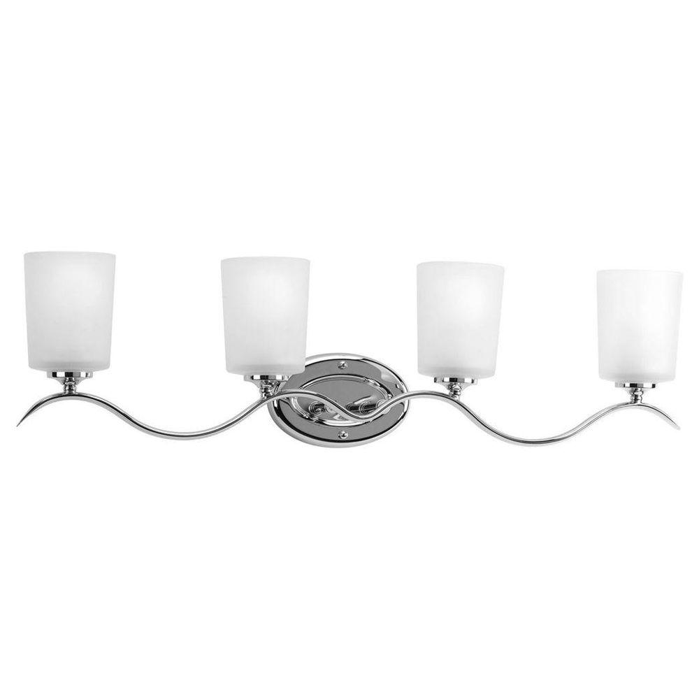 Progress Lighting Inspire 31 38 In 4 Light Chrome Bathroom Vanity With Gl Shades
