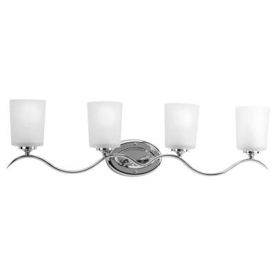 Inspire 31.38 in. 4-Light Chrome Bathroom Vanity Light with Glass Shades