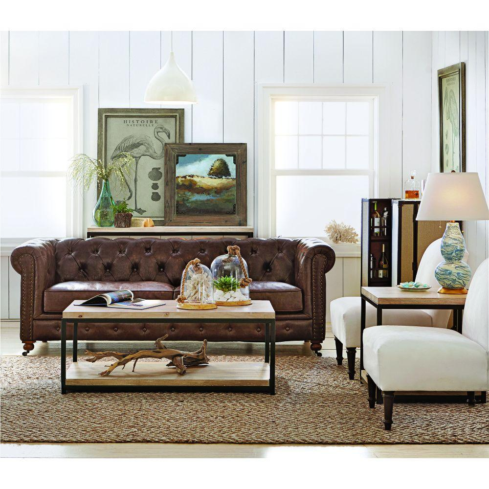 Home decorators collection gordon brown leather sofa 0849400760 the home depot - Home decorator online model ...