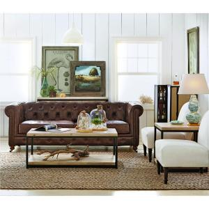 +11. Home Decorators Collection Gordon Brown Leather Sofa