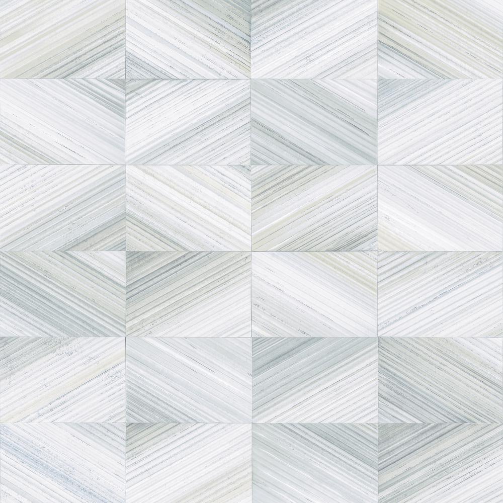 56.4  sq. ft. Stratum Light Blue Geometric Wood Wallpaper