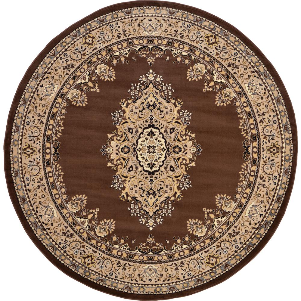unique loom mashad brown 8 ft round rug 3119167 the home depot. Black Bedroom Furniture Sets. Home Design Ideas