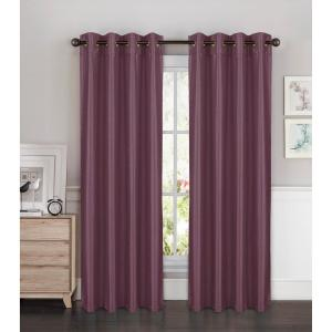 Semi-Opaque Kim Faux Silk Extra Wide 84 in. L Grommet Curtain Panel Pair, Plum (Set of 2)