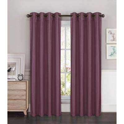 Semi-Opaque Kim Faux Silk Extra Wide 96 in. L Grommet Curtain Panel Pair, Plum (Set of 2)