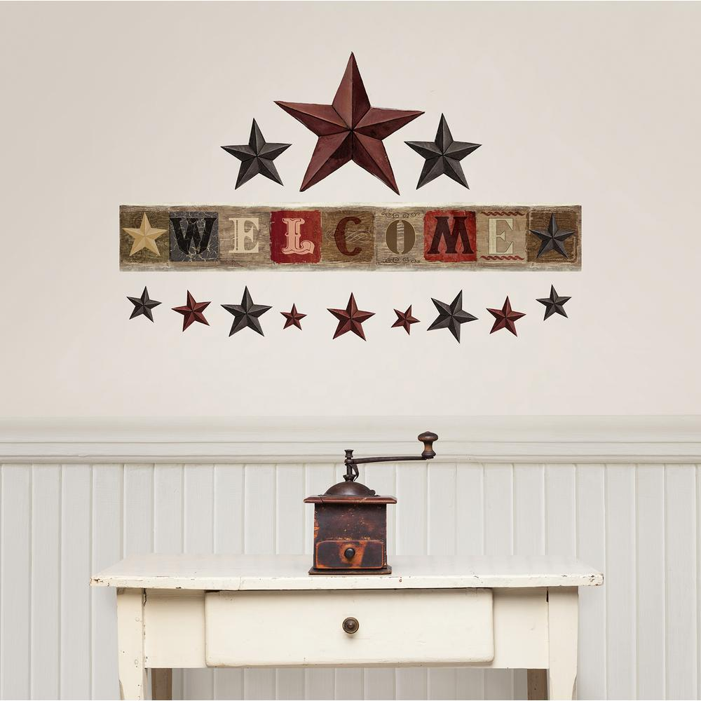 Wall Pops Multi-Colored Welcome Wall Decal, Multi-Color Create an inviting home with this peel and stick wall art kit. With a tin and wood inspired design, these stars and welcome sign have a delightful country style. Welcome Wall Art Kit contains 14 pieces on 1 sheet that measures 24 in. x 17.5 in. Color: Multi-Color.