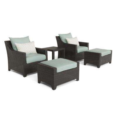 Deco 5-Piece All-Weather Wicker Patio Club Chair and Ottoman Seating Set with Spa Blue Cushions