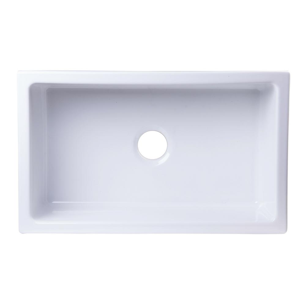 Alfi Brand Undermount Fireclay 30 In Single Basin Kitchen Sink White