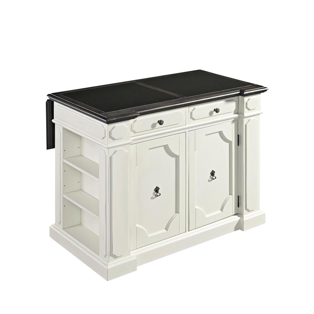 Fiesta Weathered White Kitchen Island With Granite Top