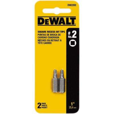 #2 Square 1 in. Steel Recess Insert Bit Tips (2-Pack)