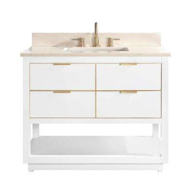 Allie 43 in. W x 22 in. D Bath Vanity in White with Gold Trim with Marble Vanity Top in Crema Marfil with White Basin