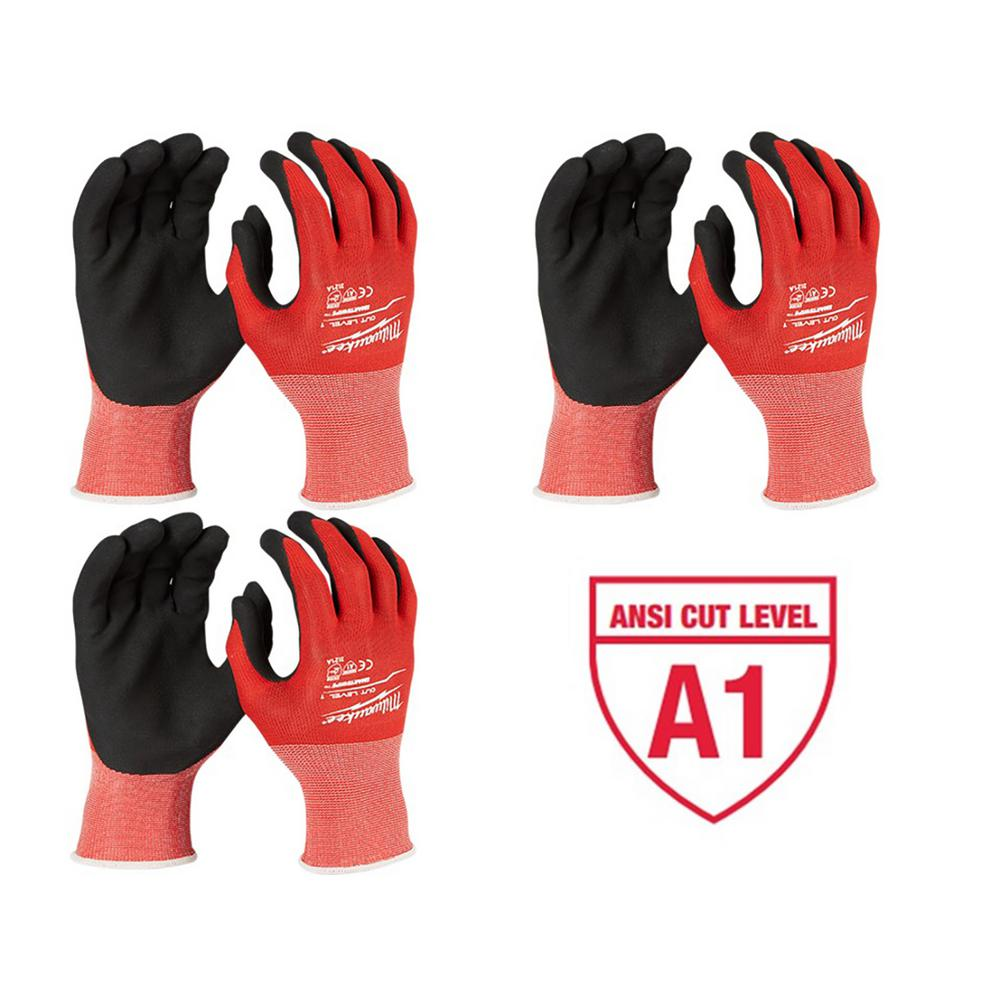 Large Red Nitrile Cut Level 1 Dipped Work Gloves (3-Pack)