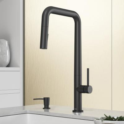 Parsons Single-Handle Pull-Down Sprayer Kitchen Faucet with Soap Dispenser in Black