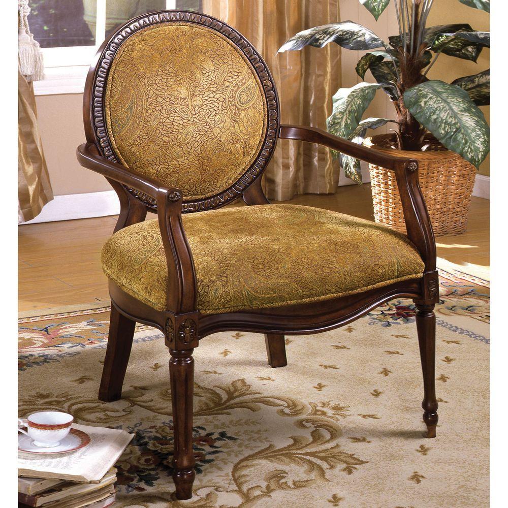 Hamilton Dark Oak Fabric Arm Chair Cm Ac6116 The Home Depot