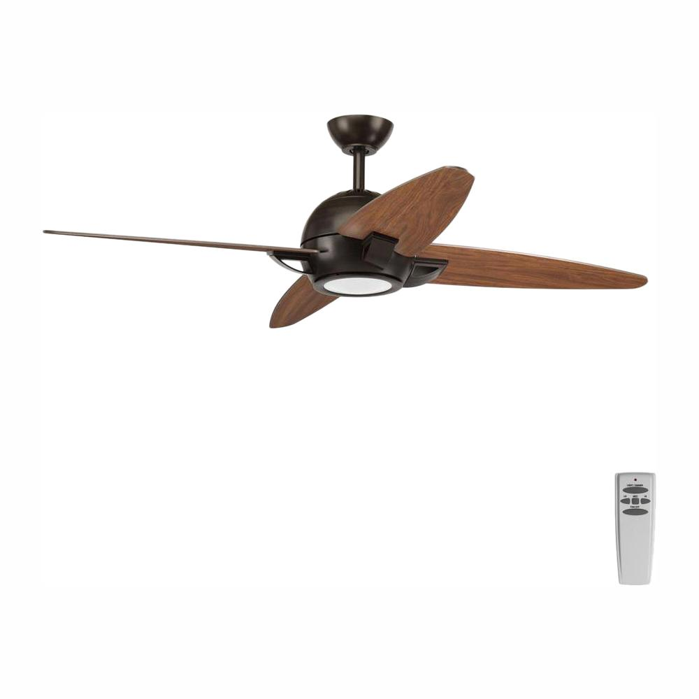 Progress Lighting Soar Collection 54 In Led Indoor Antique Bronze Rustic Ceiling Fan With Light Kit And Remote