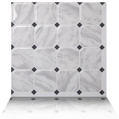 Marmo White 10 in. W x 10 in. H Peel and Stick Self-Adhesive Decorative Mosaic Wall Tile Backsplash (10-Tiles)
