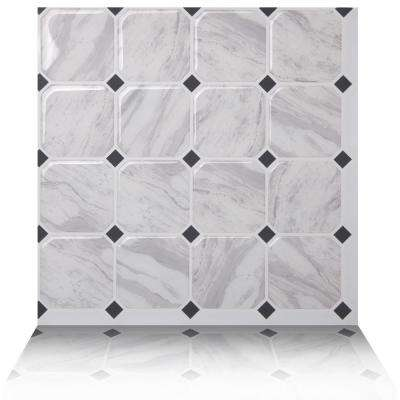 Marmo White 10 in. W x 10 in. H Peel and Stick Self-Adhesive Decorative Mosaic Wall Tile Backsplash (5-Tiles)