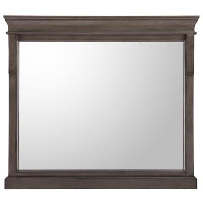 36 in. W x 32 in. H Framed Rectangular  Bathroom Vanity Mirror in Distressed Grey