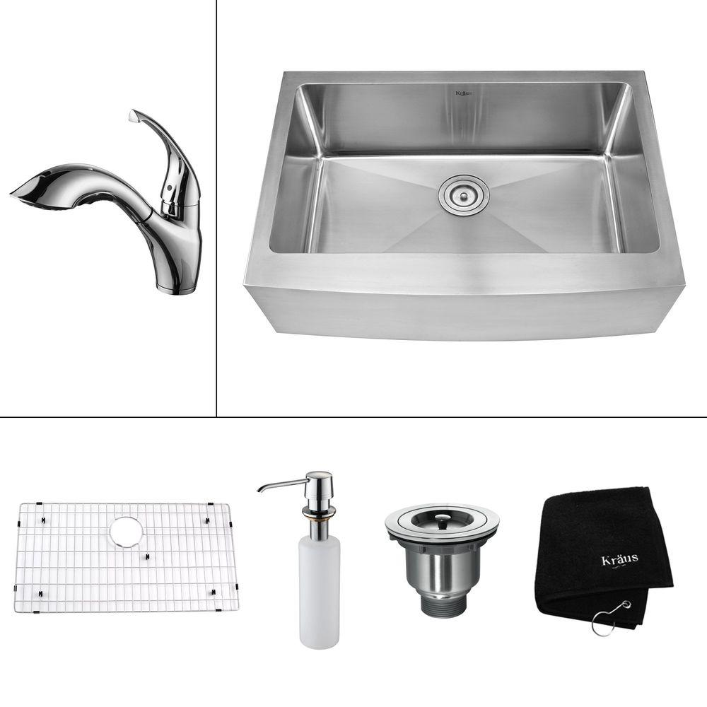 KRAUS All-in-One Farmhouse Apron Front Stainless Steel 32.9 in. 0-Hole Single Bowl Kitchen Sink with Chrome Accessories
